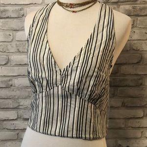 AEO halter crop top striped NEW medium gray white